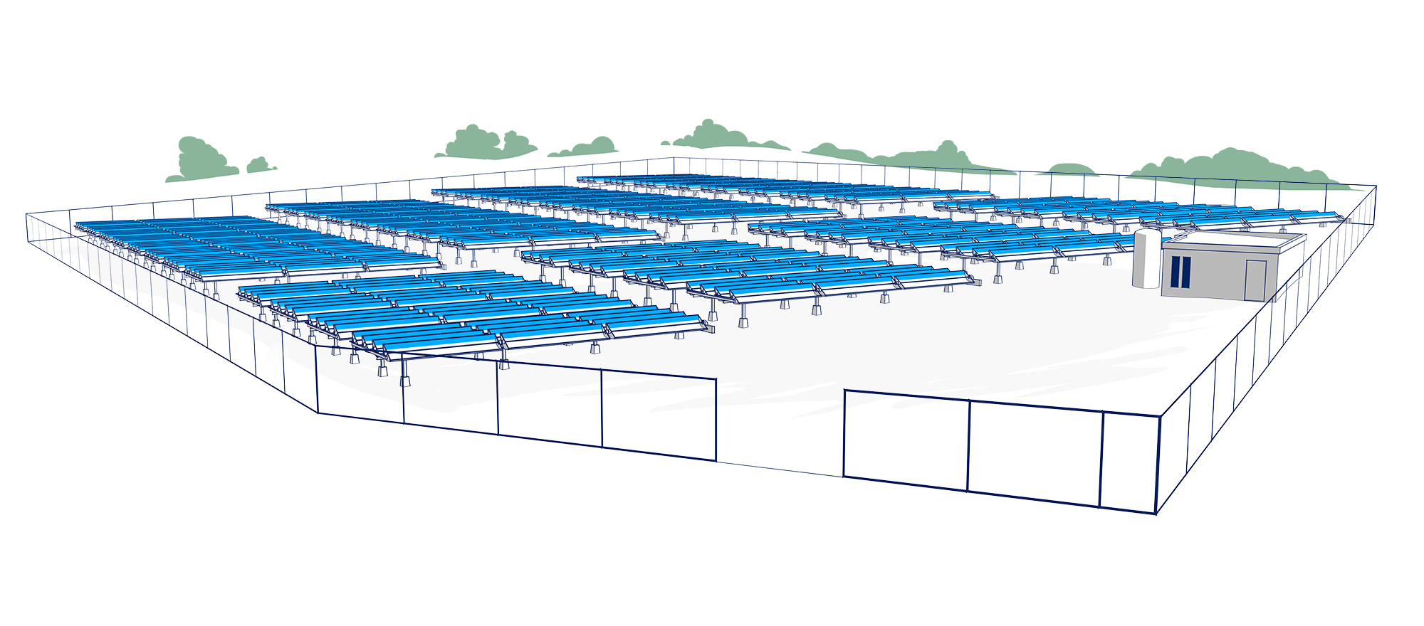 Solar thermal park for district heating.