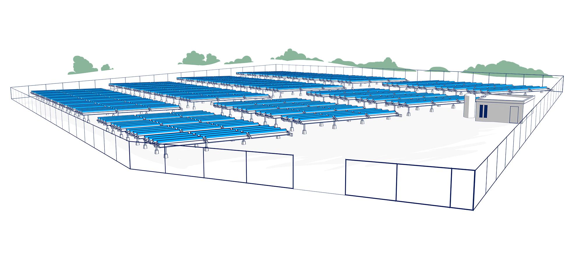 Campo de colectores solares Absolicon en Högslätten Härnösand